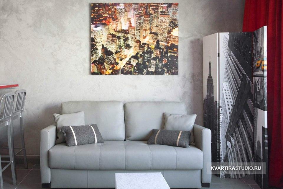 Красно-серый интерьер квартиры 32 м в Париже / Франция - http://kvartirastudio.