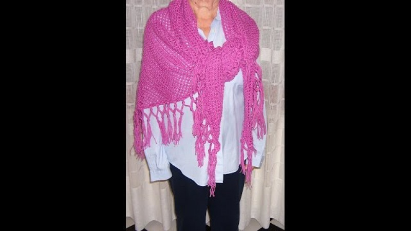 Scialle a filet con frange all'uncinetto Crochet fringed shawl tutorial ENG SUB parte 1 2