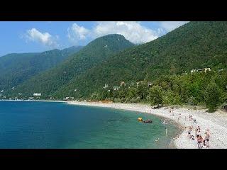 Пляжи Абхазии на Черном Море Отдых  под музыку