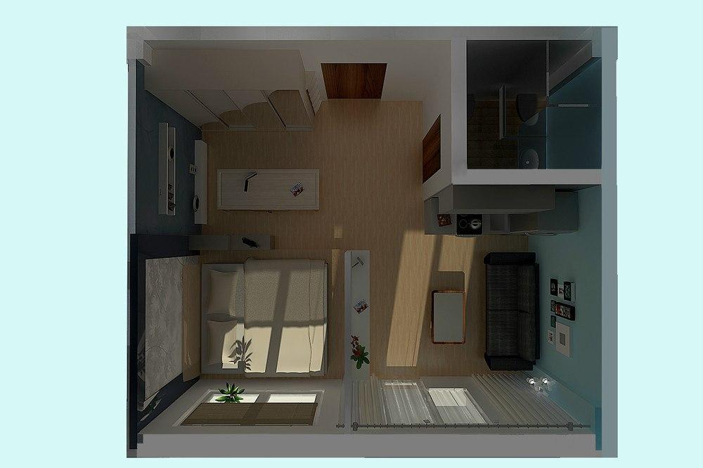 Проект квадратной студии 28 м с зонированием прозрачной перегородкой.