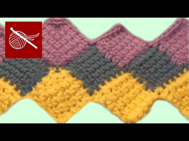 How to crochet knit ENGLISH Entrelac Stitch for Afghan or Blanket - Free Online Class Art