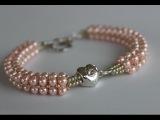 Beaded Bracelet with glass pearls and  metal bead Браслет из жемчуга и металлическим камнем