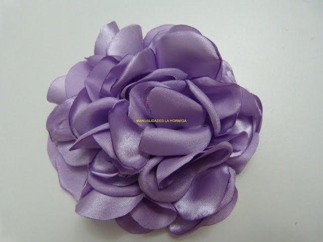 Tutorial Rosa Grande Tela Satén, Flor de Fita De Cetim,Large Pink Satin Fabric Tutorial