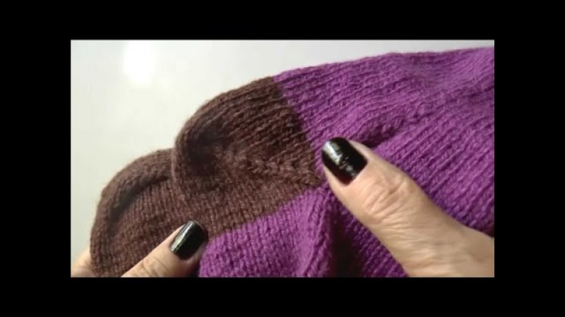 Вязание пятки носка Пятка носка спицами Пятка бумеранг Ч 1 knitting socks P 1