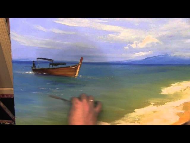 Освещенный пляж.МК по живописи Игорь Сахаров
