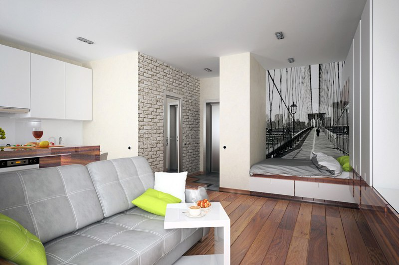Проект небольшой квадратной студии 29 м.