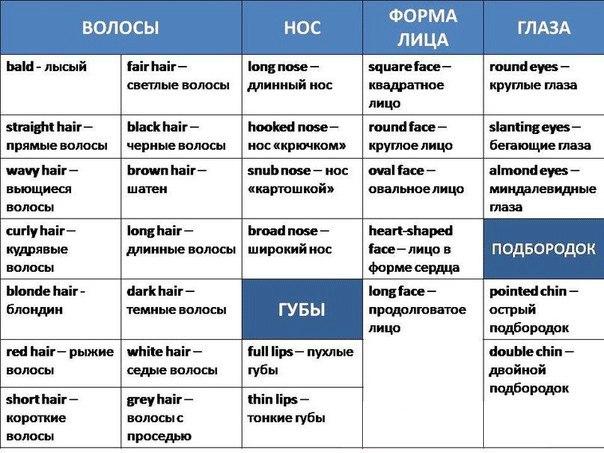 Описание Внешности На Английском Языке Упражнения
