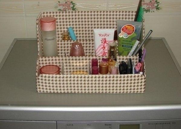 Organizador De Baño En Tela Paso A Paso: Organizador de cosméticos en cartón con forro de tela incluye paso a