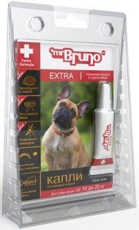 """Капли """"extra"""" от клещей и блох для собак 10-20 кг, 1,5 мл, Mr. BRUNO"""