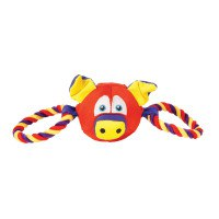 """Игрушка мягкая с веревочными вставками """"свинка"""", для собак, Chomper"""