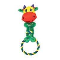 """Игрушка веревочная с вставками из термопластиковой резины """"корова"""", для собак, Chomper"""