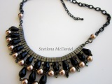 Beaded Chain Necklace with Sw pearls , crystals, seed beads. Колье из жемчуга.
