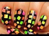 Nail Art.  Multicolored Neon Nails.