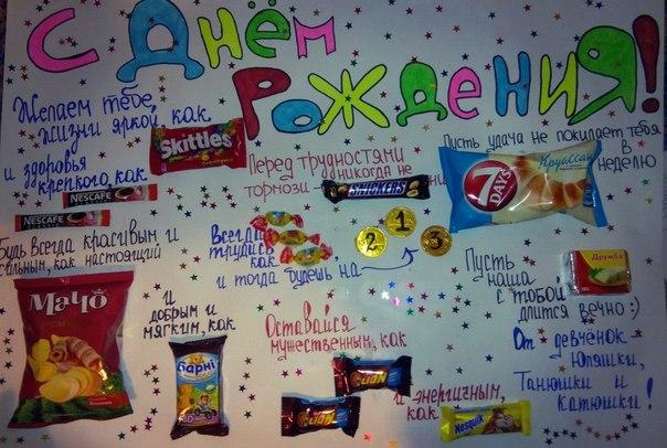 Плакат подруге на день рождения своими руками со вкусностями