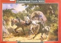 Puzzle-3000. с-300075. лошади с повозкой, Castorland