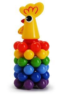 """Пирамида с шариками """"петушок"""" (19 см), Рославльская игрушка"""