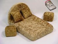 Мебель для кукол: кровать, 2 пуфа, 2 подушки (в сумке), Мягкая мебель, Игрушки из дерева