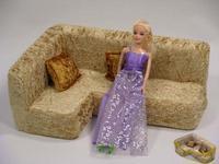 Мебель для кукол: угловой диван, 2 подушки (в сумке), Мягкая мебель, Игрушки из дерева