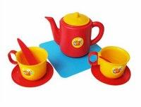 Набор чашек с чайником (5 предметов на подставке), Пластмассы