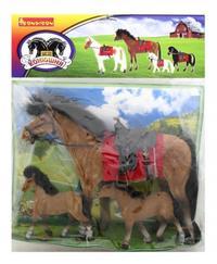 """Лошадь с седлом и уздечкой 10"""" с 2 жеребятами 5"""". арт. 3015, Bondibon (Бондибон)"""