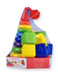 """Набор макси """"радуга"""" (пирамида + кубики) в подложке, Рославльская игрушка"""
