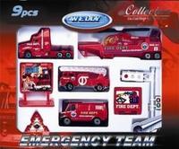 """Игровой набор """"служба спасения - пожарная команда"""" (9 штук), Welly"""