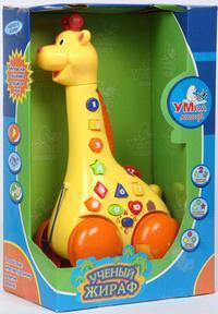 """Каталка """"ученый жираф"""" музыкальная, на батарейках, Умка (игрушки)"""