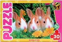 """Пазл """"три кролика"""", 30 элементов, Астрель"""
