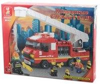"""Конструктор пластиковый """"пожарная машина с фигурками и аксессуарами"""", 267 деталей, SLUBAN"""
