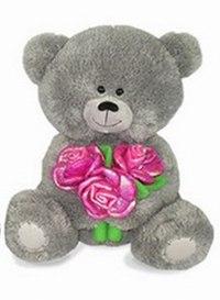 Медвежонок с розами, музыкальный (21 см), Lava