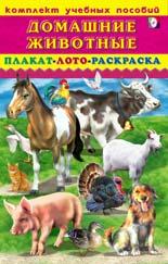 Комплект учебных пособий. домашние животные. плакат. лото. раскраска