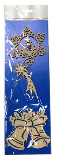 Набор украшений из шпона (снежинка с подвеской, падающая звезда, колокольчики), Караван-СТ
