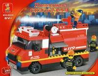 """Конструктор пластмассовый """"пожарная машина с фигурками и аксессуарами"""", 281 деталь, SLUBAN"""