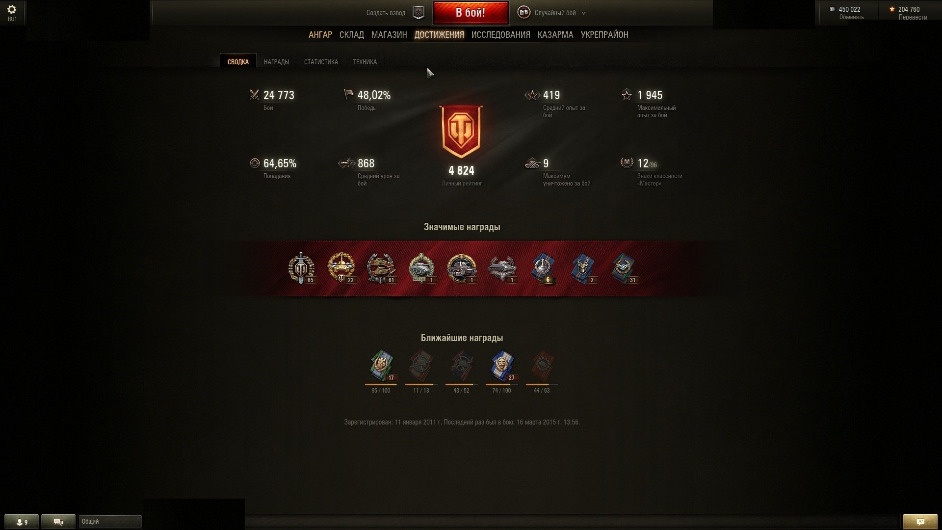 Statistics on my account in word of tanks