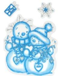 Два снеговика. новогодние наклейки на окна, Карапуз