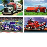 """Пазлы 54 элемента """"автокар 3"""" (супергрузовик, легендарный автомобиль, гоночная машина, красный мотоцикл), Канц-Эксмо (Listoff, Unnika Land)"""