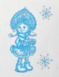 Девочка снежинка. новогодние наклейки на окна, Карапуз