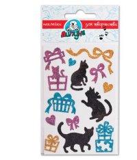 """Блестящие наклейки """"кошки и подарки"""", Липуня"""
