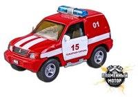 """Машина металлическая инерционная """"mitsubishi"""" пожарная охрана, 1:43, Пламенный мотор"""