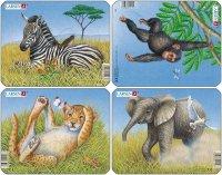 """Пазл """"лев, слон, обезьяна, зебра"""", Larsen (Ларсен)"""