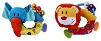 """Развивающая игрушка-погремушка """"веселые зверята"""", с прорезывателем, в ассортименте, Жирафики"""