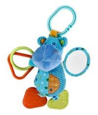 """Развивающая игрушка-подвеска """"бегемотик"""", с погремушкой, зеркальцем и прорезывателем, Жирафики"""