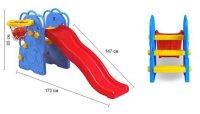 """Горка волнистая eduplay """"слон"""" с баскетбольным кольцом (173х147х85 см), сине-красно-желтая, Edu-Play"""