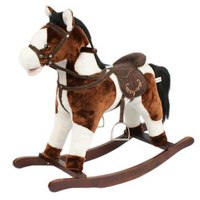 Качалка-лошадка, музыкальная (темно-коричневая с белым), Time Leader