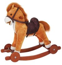 Качалка-лошадка с колесиками, музыкальная (светло-коричневая), Time Leader