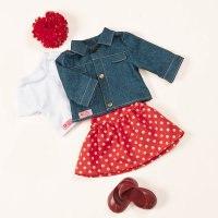 Одежда для куклы 46 см (джинсовая куртка, футболка, юбка в горошек, заколка с цветком, туфли), Battat