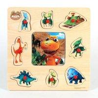 """Деревянная игрушка """"поезд динозавров. пазл, рамка-вкладыш"""", Играем вместе"""