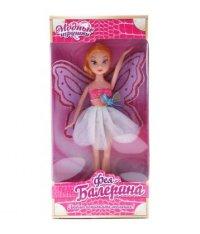 "Кукла ""фея балерина"", 26 см, белая юбочка, крылья белые с розовым, S+S Toys"