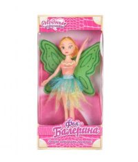 "Кукла ""фея балерина"", 26 см, желтая юбочка, зеленые крылья, S+S Toys"
