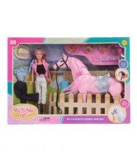 """Набор игровой для девочки """"кукла-наездница+фигурка лошади"""", 26 см, Defa"""